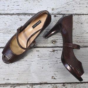 Alex Marie Peep Toe Brown Alligator Heels